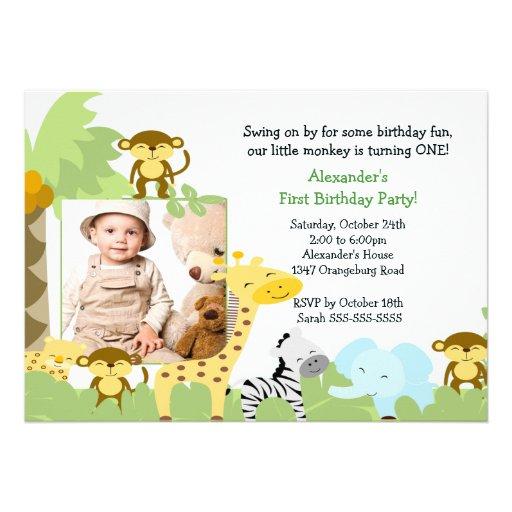 Invitación del cumpleaños de la foto del mono de l