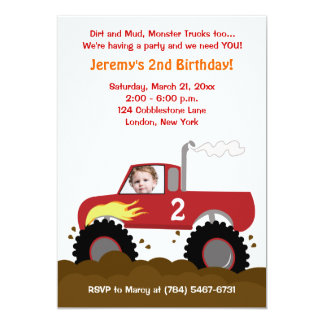 Invitación del cumpleaños de la foto del monster