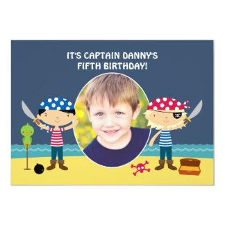 Invitación del cumpleaños de la foto del pirata invitación 12,7 x 17,8 cm