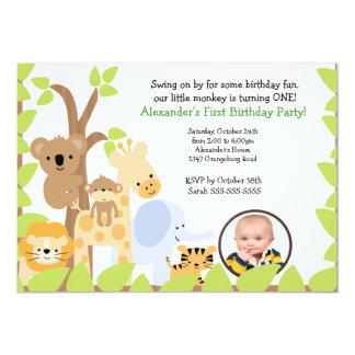 Invitación del cumpleaños de la foto del safari de invitación 12,7 x 17,8 cm