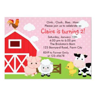 Invitación del cumpleaños de la granja - chica invitación 12,7 x 17,8 cm