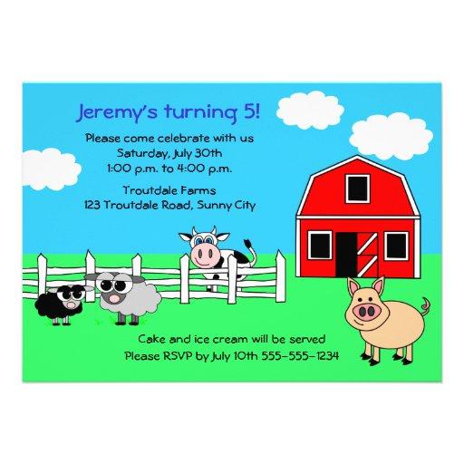 Invitación del cumpleaños de la granja del corral