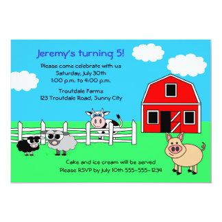 Invitación del cumpleaños de la granja del corral invitación 12,7 x 17,8 cm