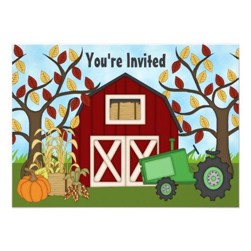 Invitación del cumpleaños de la granja del otoño d
