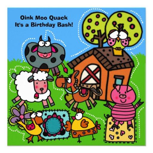 Invitación del cumpleaños de la granja divertida