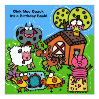 Invitación del cumpleaños de la granja divertida invitación 13,3 cm x 13,3cm