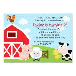 Invitación del cumpleaños de la granja - muchacho invitación 12,7 x 17,8 cm