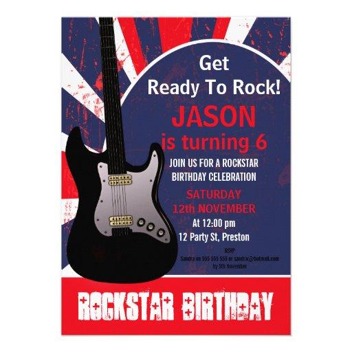 Invitación del cumpleaños de la guitarra de la est