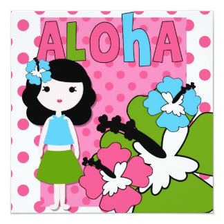 Invitación del cumpleaños de la hawaiana (chica invitación 13,3 cm x 13,3cm