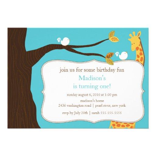 Invitación del cumpleaños de la jirafa del safari