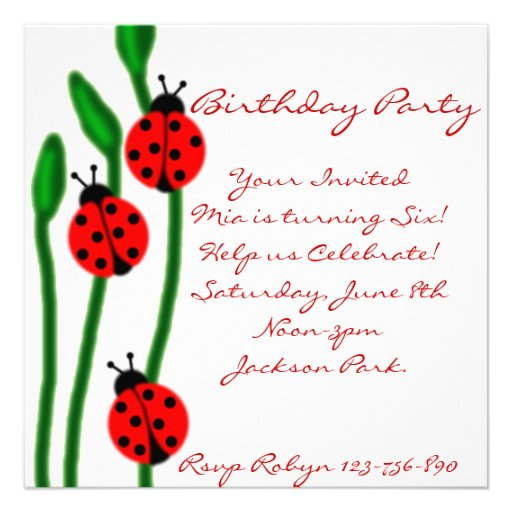 invitación del cumpleaños de la mariquita