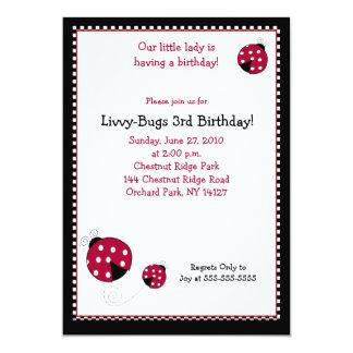 Invitación del cumpleaños de la mariquita 5x7 de