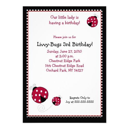 Invitación del cumpleaños de la mariquita 5x7 de P