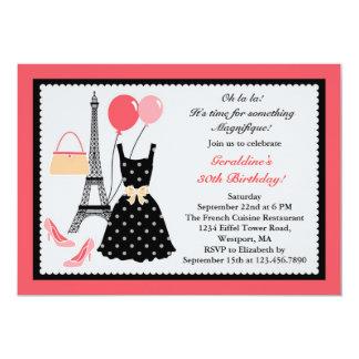 Invitación del cumpleaños de la moda del francés invitación 12,7 x 17,8 cm