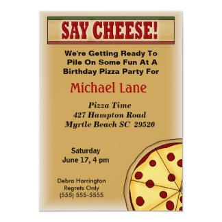 Invitación del cumpleaños de la pizza de los niños