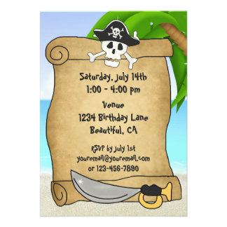 Invitación del cumpleaños de la playa de los pirat