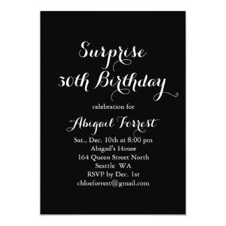 Invitación del cumpleaños de la sorpresa - negro