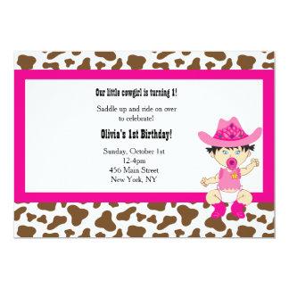 Invitación del cumpleaños de la vaquera (asiática)