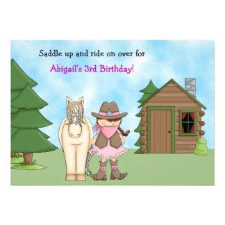 Invitación del cumpleaños de la vaquera del cabal