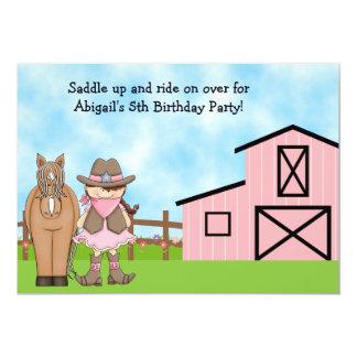 Invitación del cumpleaños de la vaquera y del invitación 12,7 x 17,8 cm