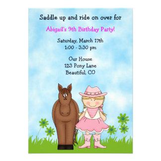 Invitación del cumpleaños de la vaquera y del caba