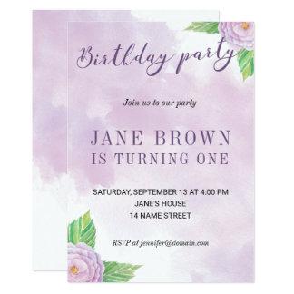 Invitación del cumpleaños de las flores de la