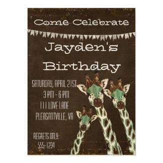Invitación del cumpleaños de las jirafas del invitación 13,9 x 19,0 cm