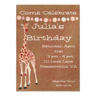 Invitación del cumpleaños de las jirafas del rosa invitación 13,9 x 19,0 cm