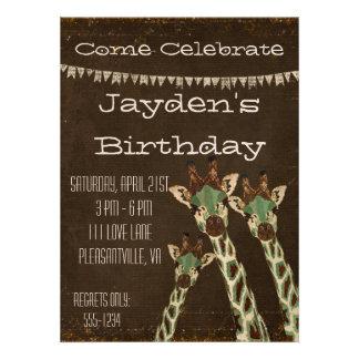 Invitación del cumpleaños de las jirafas del trull