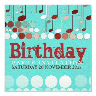Invitación del cumpleaños de las notas musicales