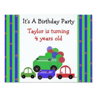 Invitación del cumpleaños de los carros, de los