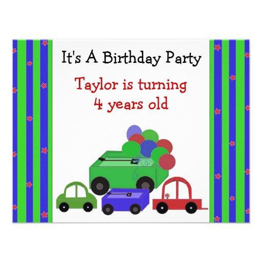 Invitación del cumpleaños de los carros, de los co