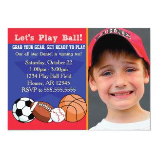 Invitación del cumpleaños de los deportes