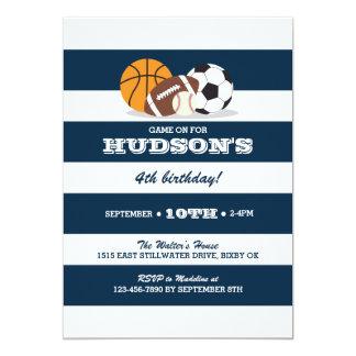 Invitación del cumpleaños de los deportes -