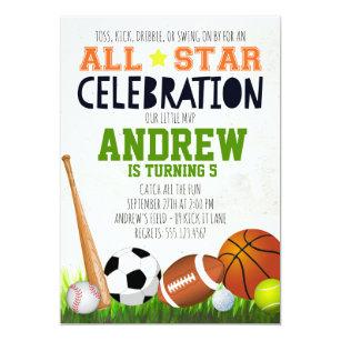 Invitación Del Cumpleaños De Los Deportes De All
