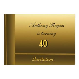 Invitación del cumpleaños de los hombres elegantes invitación 12,7 x 17,8 cm