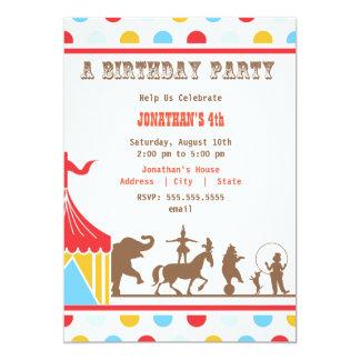 Invitación del cumpleaños de los niños - circo invitación 12,7 x 17,8 cm