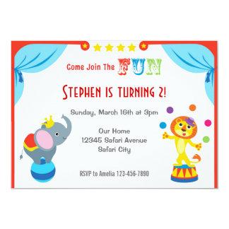 Invitación del cumpleaños de los niños del circo invitación 12,7 x 17,8 cm