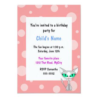 Invitación del cumpleaños de los niños del gato