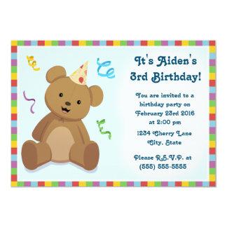 Invitación del cumpleaños de los niños del oso de