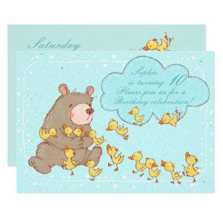 Invitación del cumpleaños de los niños del oso y