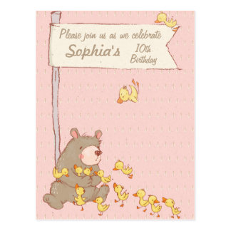 Invitación del cumpleaños de los niños del oso y postal