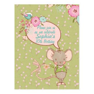 Invitación del cumpleaños de los niños del ratón y postal