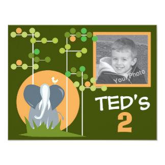 Invitación del cumpleaños de los niños - elefante invitación 10,8 x 13,9 cm