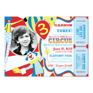 Invitación del cumpleaños de los payasos de circo invitación 12,7 x 17,8 cm