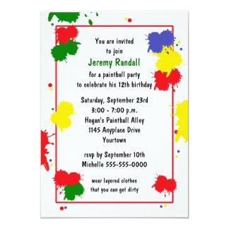 Invitación del cumpleaños de Paintball