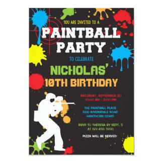 Invitación del cumpleaños de Paintball/cumpleaños