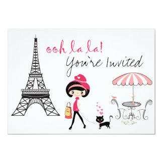 Invitación del cumpleaños de París del chica lindo