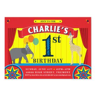 Invitación del cumpleaños del animal de circo