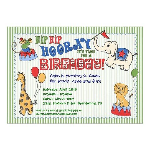Invitación del cumpleaños del animal de circo - ve